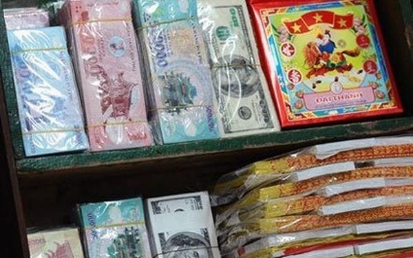 Tiền cúng cho người đã chết được gọi là tiền đô la âm phủ, tiền vàng mã.